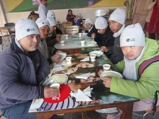 Children and Youth with Disabilities having lunch