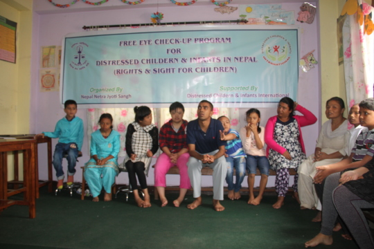 children with disabilities attending the eye camp