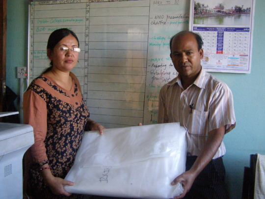 Tent distribution to a family of a child