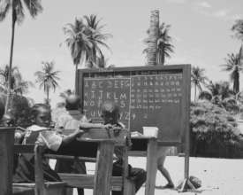 The Students of Ishahayi Beach Learning Outside