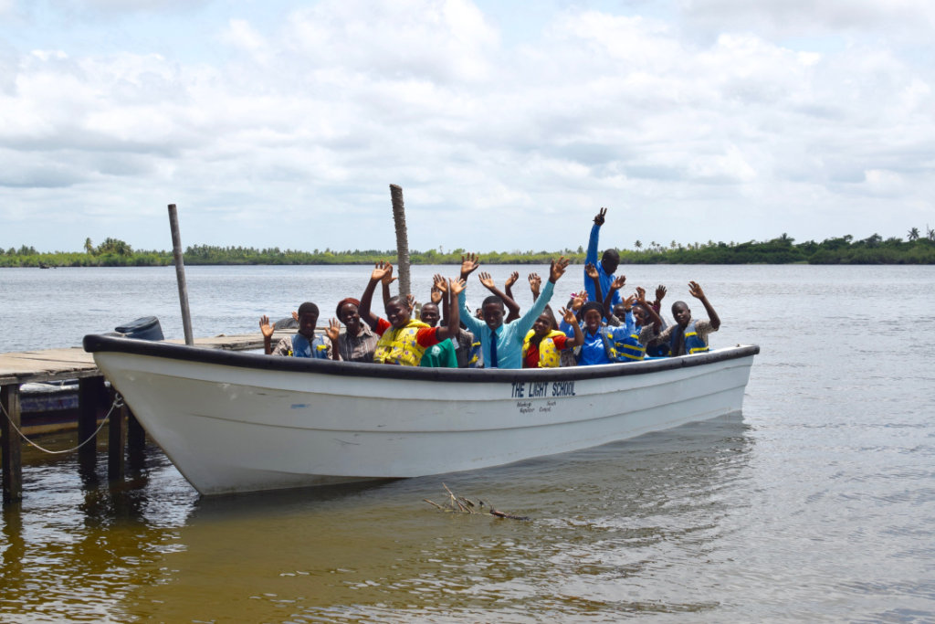 The new boat with the JSS students and teachers!