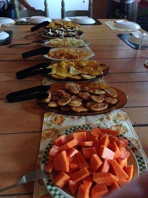 Haitian Dinner: Papaya, sweet potato, plantains