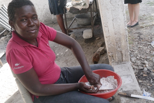 Grinding corn for hot lunch