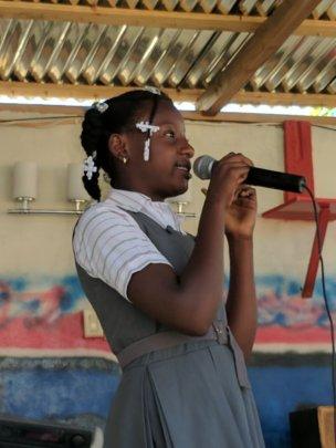 Shelove giving an inspirational speech