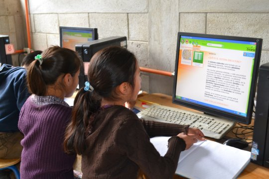 Students using computers to study biology