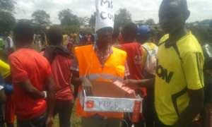 Mr. Condom distributing condoms