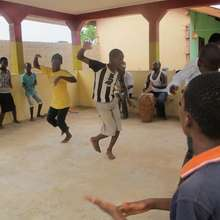 Bizung students practicing the KPALONGO dance