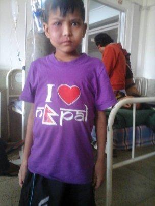 12 yr. old Sanjeev, recovering at Kanti hospital