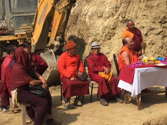 Local monks perform foundation stone ceremony