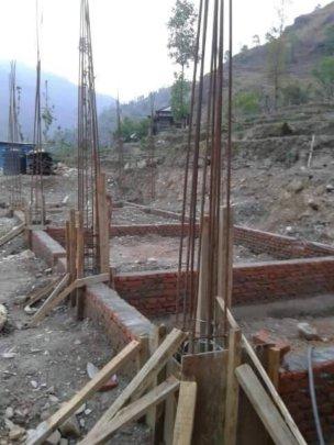 New kitchen foundation; note steel reinforcement