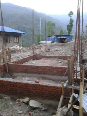 Foundation for kitchen destroyed in earthquake