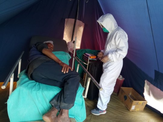 treatment in outside tent