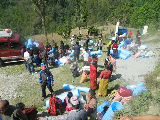 Supplies being distributed on hospital grounds