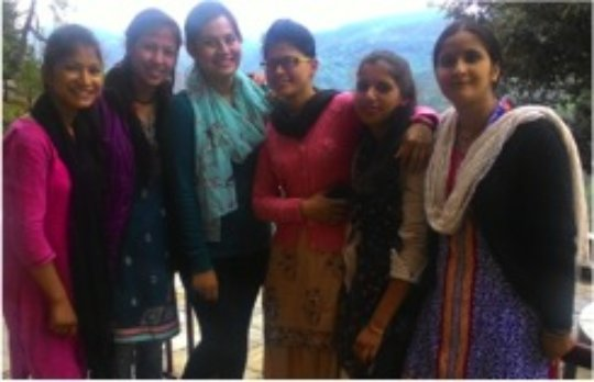 Asmita Joshi, a volunteer, with ABS teachers