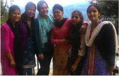 Asmita Joshi, a volunteer, with ABS teachers