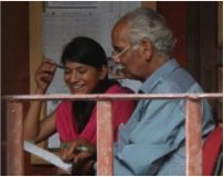 Kamla being mentored by Mohan Masterji