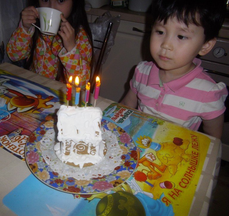 Kostya celebrating his birthday in family circle