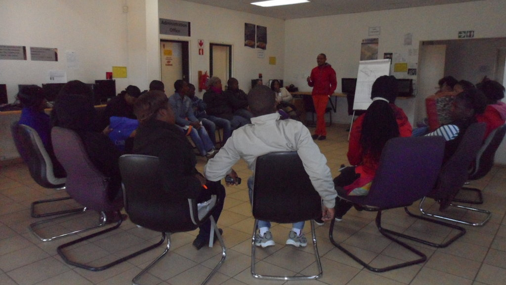 Local Trainer, James Sekhonyane leads MEP workshop