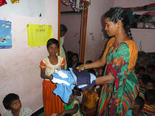 abandoned orphans getting uniforms