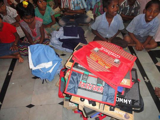 uniforms clothes schoo bags donation in joy home