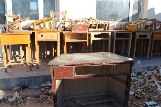 Bye, old desks. Thank you GlobalGiving donors!