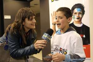 Bruno, 12, being interviewed by Channel 12 News