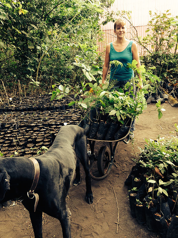 Dena Sanftleben, planting trees for Earth Day