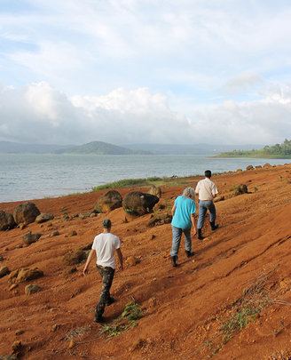 Lake Arenal shore line, water level down this year