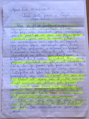 Maria de Fatima's original letter