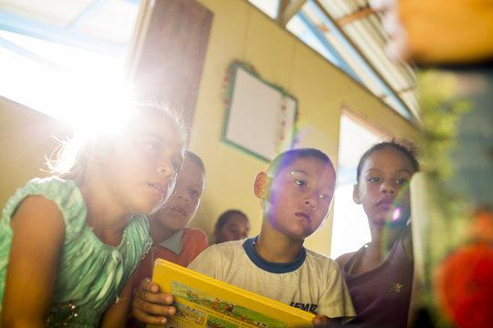 Children inside the new library