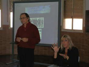 Teacher Lozano and interpreter of sign language