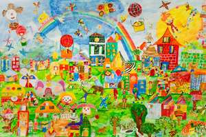 Collective mural created by kids in Beslan