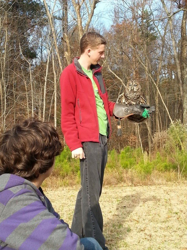 Mentor, Adam, sharing barred owl with students