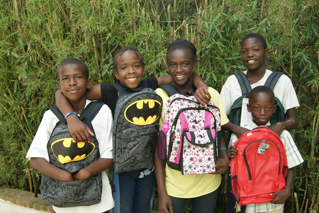 Some of our students picking up their supplies