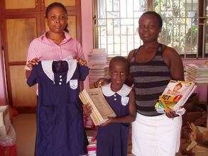 Mary with her new uniform and textbooks