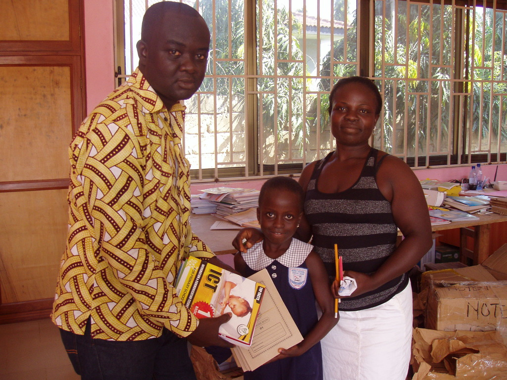 We present Mary and her mum with school supplies