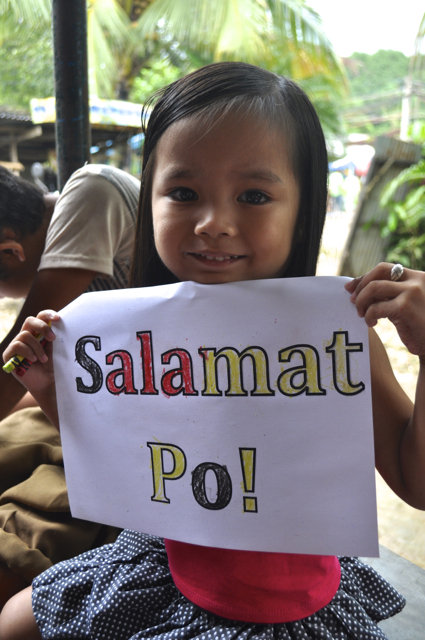 "Her sign means ""Thank You"" in Tagalog"
