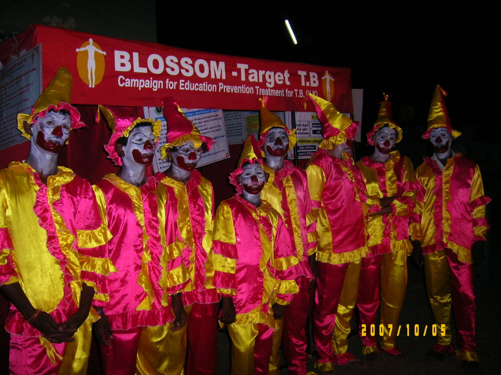 Educlowns performing at a TB campaign