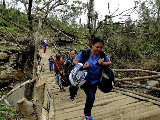 Carrying Medical Supplies by Foot