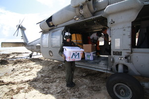 Delivering Relief in Hernani by Helicopter
