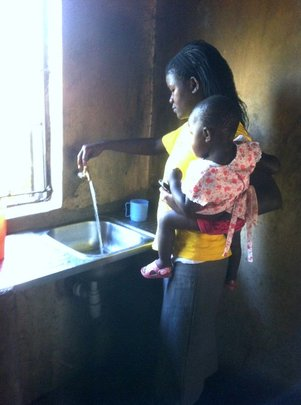 The kitchen in the children home, water on the tap