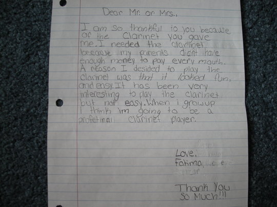 Letter from a student giving thanks