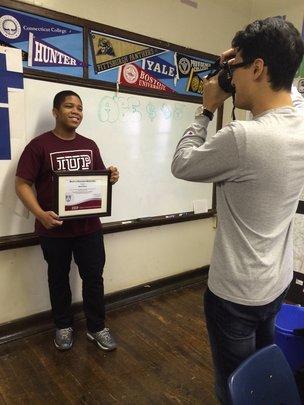 Amsell (PT Senior) receiving a scholarship