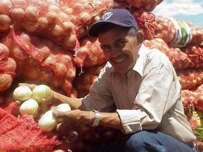 Farmer poses with his product