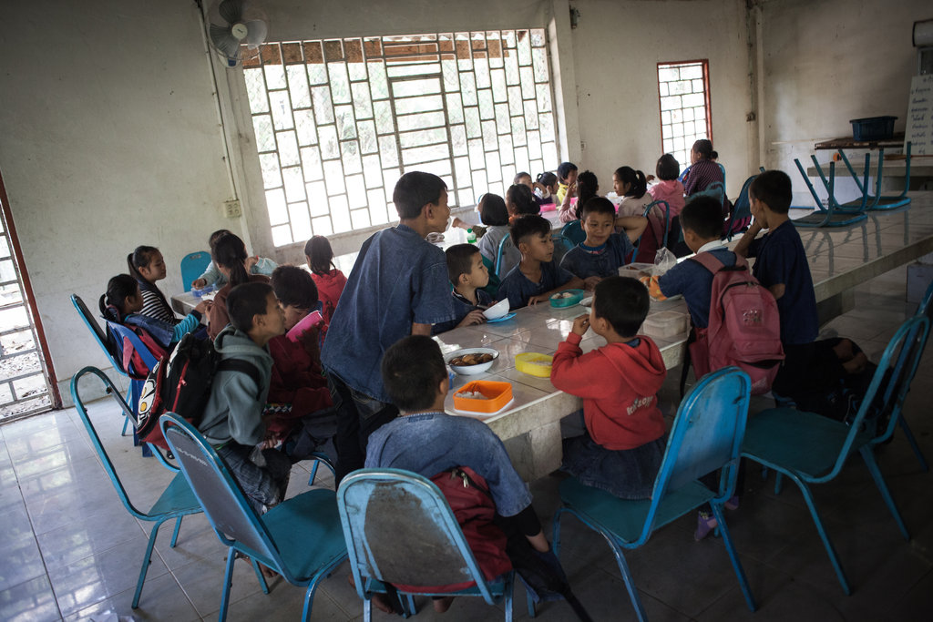 Students enjoying lunch time together