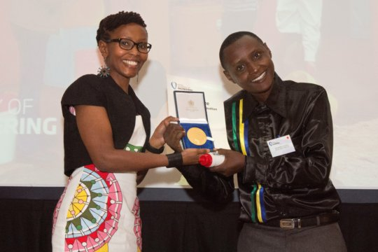 Hilonga receiving the Africa Prize, June 2015