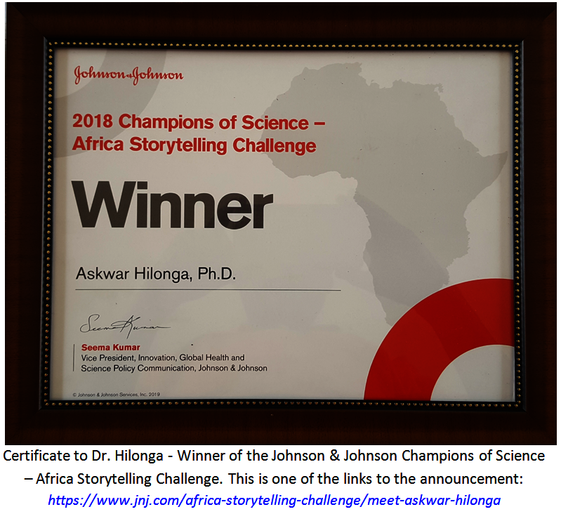 Hilonga - winner of Johnson & Johnson Award