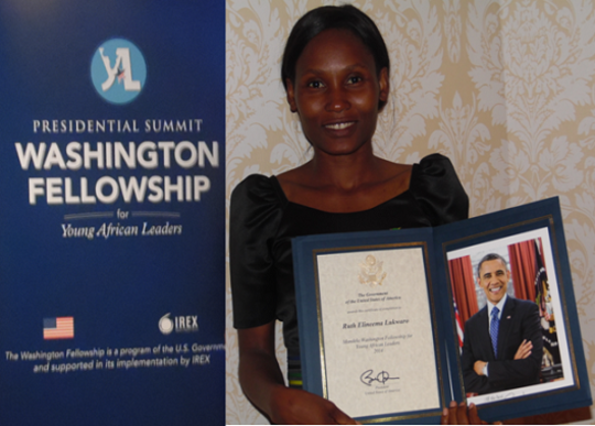 Ruth with YALI Certificate