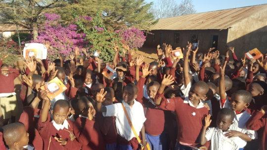 School children with solar lantern performed well