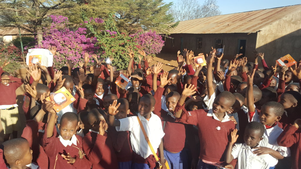 School children with solar lantern performed well